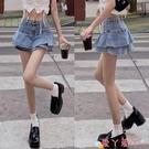 超短裙荷葉邊牛仔半身裙女2021夏季新款高腰設計感辣妹包臀裙超短裙裙子 愛丫