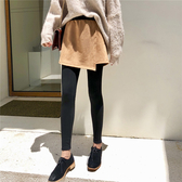 現貨 內搭褲 假兩件 麂皮絨 不規則 內搭褲 短褲 長褲 M碼【YF602】 BOBI