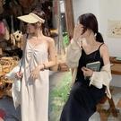 洋氣遮肚連身裙女大碼夏寬鬆v領抽繩吊帶裙【時尚大衣櫥】