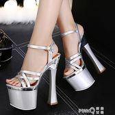恨天高銀色婚鞋粗跟防水台模特夜店演出鞋18cm/20公分超高跟涼鞋  【PINK Q】