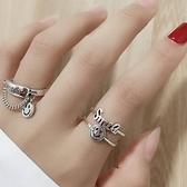 戒指小眾開口戒指時尚個性ins潮酷韓版簡約復古指環網紅蹦迪食指戒女 雲朵走走