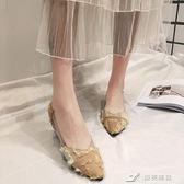 淺口鞋 夏秋季韓版chic尖頭淺口百搭瓢鞋女復古港風透明帶單鞋子 樂芙美鞋