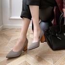 大尺碼女鞋34~46 2021格子紋尖頭高跟鞋~2色