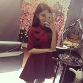 春秋新款女裝韓版裙子名媛盤扣復古旗袍小禮服收腰顯瘦洋裝