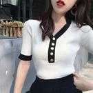 時尚女排扣V領上衣襯衫