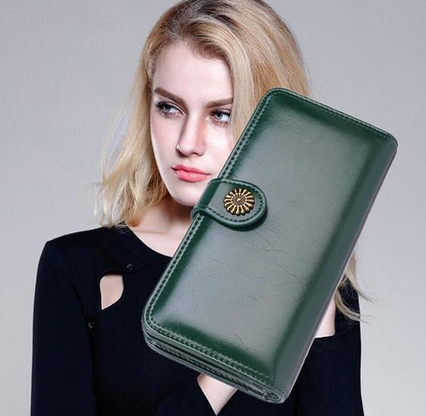 女潮流簡約太陽扣女士手提皮夾包長夾女包 時尚百搭大容量手提錢包 手機包長款多色手腕包