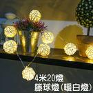 LED燈串 4米 20燈藤球燈串情人節 居家布置 生日派對 ☆匠子工坊☆【UZ0046】