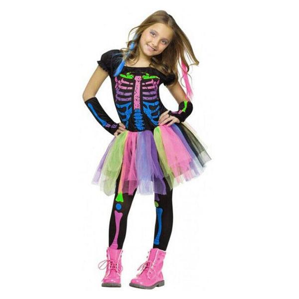 女童 彩虹骨架上衣+彩色澎澎裙+袖套+骨頭內搭褲 萬聖節服裝 套裝 四件式 橘魔法 萬聖節 現貨