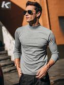 長袖T恤 男士高領打底衫 男正韓休閒長袖t恤 男裝修身打底衣(快速出貨)
