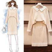 中大尺碼針織L-4XL套裝大碼女裝秋新款微胖洋氣減齡時尚遮肚連衣裙兩件套4F034-A.0414韓依紡
