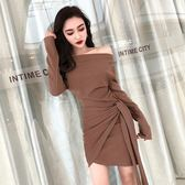 精選38折 韓系時尚顯瘦不規則一字領長袖洋裝
