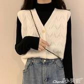 馬甲 白色針織馬甲女春秋季新款韓版寬鬆馬夾外套百搭森系毛衣背心外穿 小天使