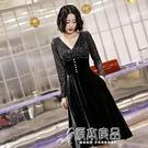 小禮服 小晚禮服女宴會氣質高端名媛高級質感平時可穿黑色洋裝長袖連身裙