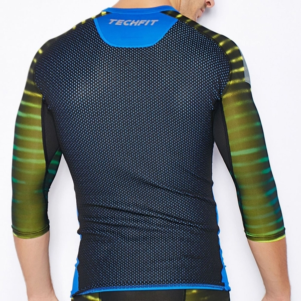 ADIDAS 短T 緊身衣 TECHFIT COOL 藍黑 吸濕 排汗 透氣 訓練 五分袖 男 (布魯克林) AC0471