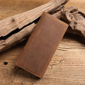 【Solomon 原創設計皮件】瘋馬牛皮薄型長夾 真皮男用錢包 有拉鍊夾層多卡片夾