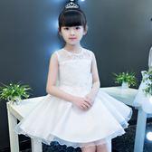 兒童裙夏季女童蓬蓬紗女孩生日白色花童婚紗裙子 Ic424『伊人雅舍』