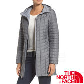 The North Face TNF 364B-DYY灰 女纖維連帽長版外套 化纖保暖長大衣/防風風衣/機能夾克