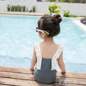 兒童泳衣女孩復古ins寶寶嬰兒速干游泳衣泳池可愛公主中小童泳裝 米娜小鋪