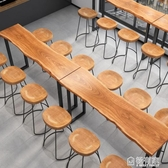 吧台桌實木高腳桌椅酒吧奶茶咖啡廳長條桌椅組合鐵藝家用靠墻邊桌  ATF  聖誕免運