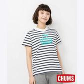 CHUMS 日本 女 Booby 短袖T恤 藍白條紋 CH111325W011