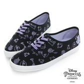 Disney 美女與野獸系列~手繪圖案綁帶休閒鞋-黑