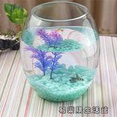水族箱生態圓形玻璃金魚缸 易樂購生活館