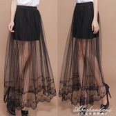 蕾絲網紗半身裙透視修身中長裙不規則打底裙子女 黛尼時尚精品