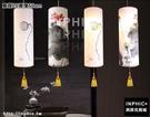 INPHIC-現代新中式吊燈仿古布藝手繪羊皮燈籠餐廳工程酒店茶樓吧台燈具-直徑20高度50cm_S3081C