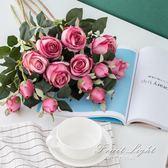 假花 模擬花保加利亞玫瑰花 歐式裝飾拍攝插花假花絹花 果果輕時尚