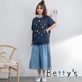 betty's貝蒂思 口袋繡花牛仔一片裙(淺藍)