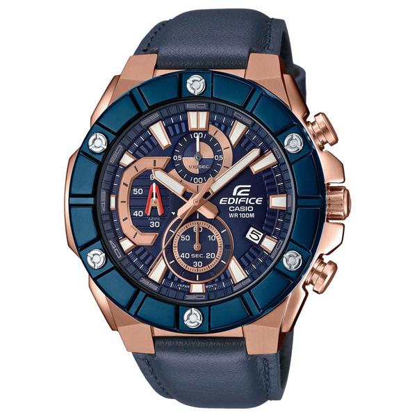 CASIO 卡西歐 手錶專賣店 EDIFICE EFR-569BL-2A 奢華金鑽型男三眼錶 皮革錶帶 藍金 防水100米 日期顯示