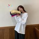 年新款小衫白色長袖t恤女韓版寬鬆洋氣打底衫內搭上衣ins超火 錢夫人