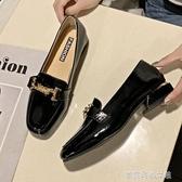 豆豆鞋 單鞋女春秋新款中跟樂福鞋英倫小皮鞋百搭方頭低跟粗跟豆豆鞋 夢露