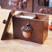 創意美式復古木質多功能牙簽盒防塵帶蓋分格收納棉簽盒  可然精品鞋櫃