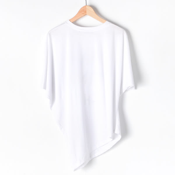 【MASTINA】英文字母飛鼠袖上衣-白 好康限時