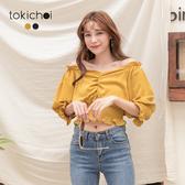 東京著衣-tokichoi-甜美性感V領抓皺腰鬆緊短版上衣-S.M.L(190550)