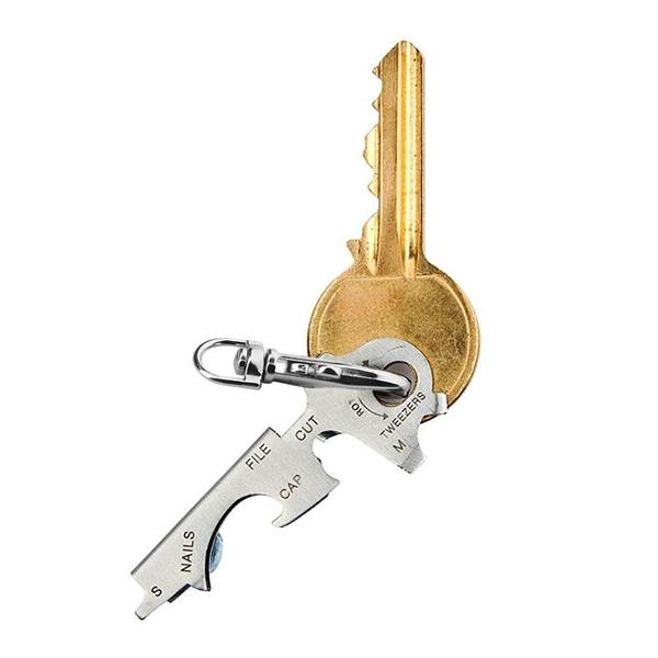 不銹鋼8合一鑰匙扣創意鑰匙套便攜開瓶器鑰匙掛件多功能EDC小工具