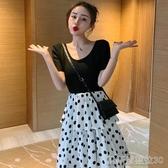 春夏女裝新款時尚波點拼接T恤假兩件裙子高腰中長款A字短袖連身裙 凱斯頓3C