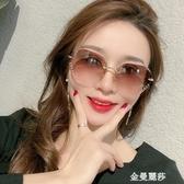 新款無框鑲鑚女士眼鏡防紫外線時尚太陽鏡韓版潮網紅圓臉墨鏡 極簡雜貨