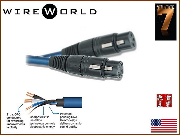 盛昱音響/美國 WireWorld OASIS 7 綠洲 (OBI) 發燒級平衡線 1.5M 【外縣市隔日火速到貨】