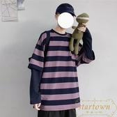 潮流長袖T恤韓版假兩件拼接上衣情侶寬松條紋外套【繁星小鎮】