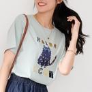 【慢。生活】燙金印花絨布貓咪休閒T恤 9826  FREE 淺水藍色