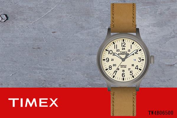 【時間道 】〔TIMEX。天美時〕復古內外圈數字刻度腕錶– 米黃面咖啡皮(TW4B06500/TXT4B06500免運費