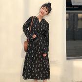 碎花洋裝   2018秋季韓版裙子收腰A字裙顯瘦綁帶碎花連身裙