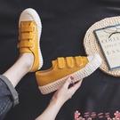 帆布鞋夏季薄款魔術貼餅干帆布鞋女鞋2021年新款春秋小白鞋單鞋布鞋球鞋 芊墨左岸