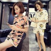 售完即止-正韓女士短袖睡衣夏季寬鬆學生休閒運動家居服兩件套裝可外穿庫存清出(3-26S)