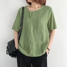 棉麻圓領短袖T恤 復古寬鬆薄款套頭上衣/5色-夢想家-0414