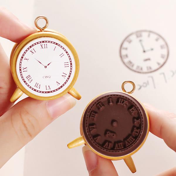 【BlueCat】CINA羅馬復古迷你時鐘懷錶造型自畫時間DIY木質印章