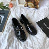 皮鞋 chic簡約氣質英倫風百搭街拍原宿pu漆皮小皮鞋女單鞋 中秋節禮物