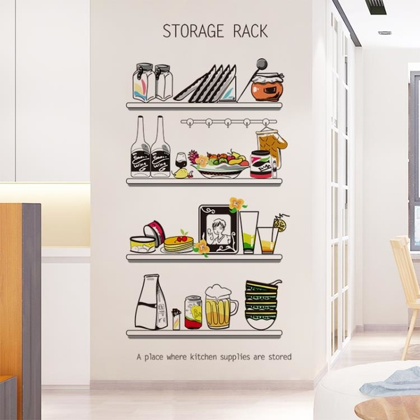 廚房柜門卡通冰箱貼畫貼紙